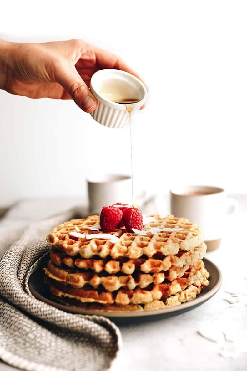 Coconut Waffles - Vegan and Gluten-free. Made with coconut flour and chia seeds this waffle recipe makes the ultimate healthy breakfast recipe everyone will enjoy.