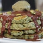 Matcha Green Tea Pancakes with Guilt-free Chocolate Sauce