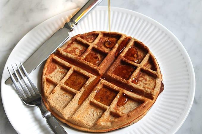 Cinnamon Roll Protein Waffles // thehealthymaven.com #glutenfree