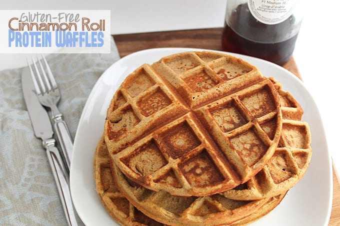 Gluten-Free Cinnamon Roll Protein Waffles // thehealthymaven.com