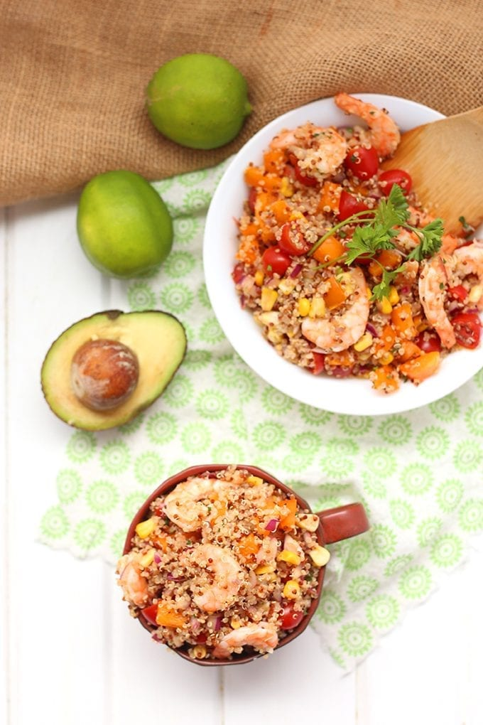 This Southwestern Quinoa Salad with Lemon-Garlic Shrimp makes a heart-healthy lunch or dinner recipe full of flavor from smoky grilled corn, chili-lime dressing and zesty lemon-garlic shrimp! It's also packed-full of whole-grain fibre, protein and vegetables!