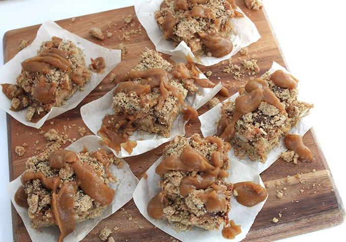 Salted Caramel Apple Crumb Bars // thehealthymaven.com #glutenfree #vegan