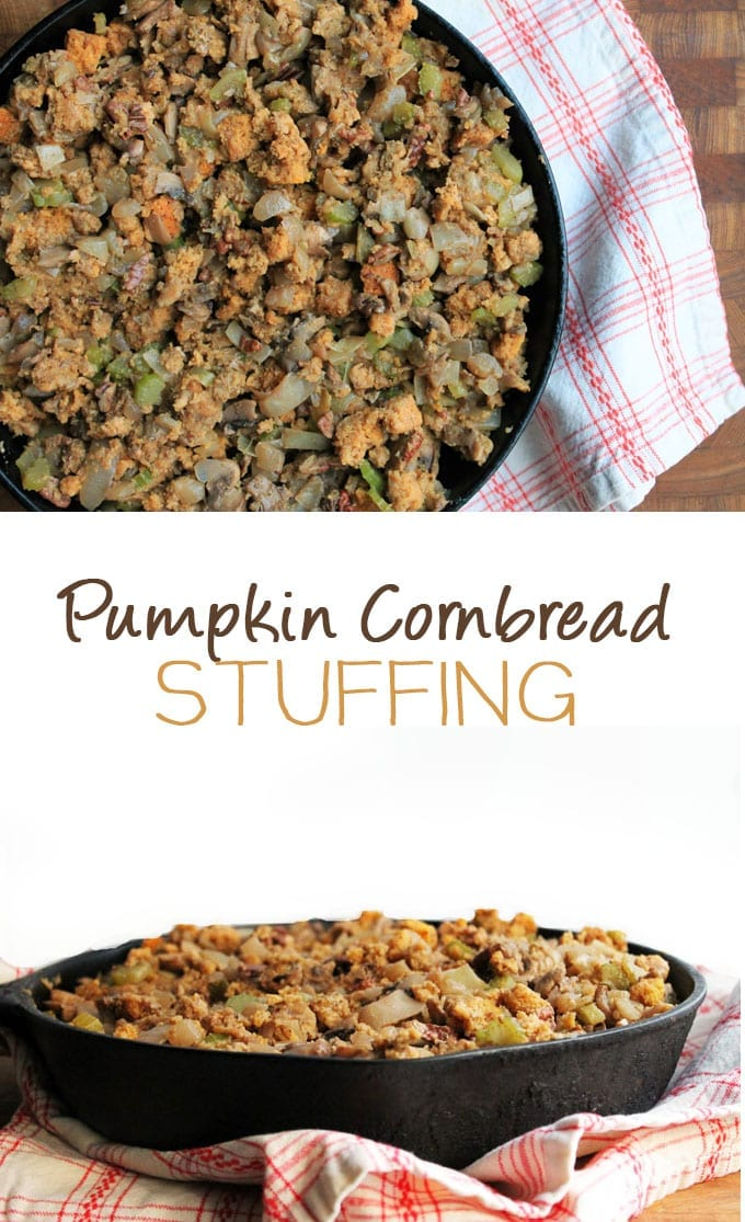Shake up your Thanksgiving this year with this healthy pumpkin cornbread stuffing. Homemade cornbread and skillet stuffing for the best new side to your Thanksgiving table.
