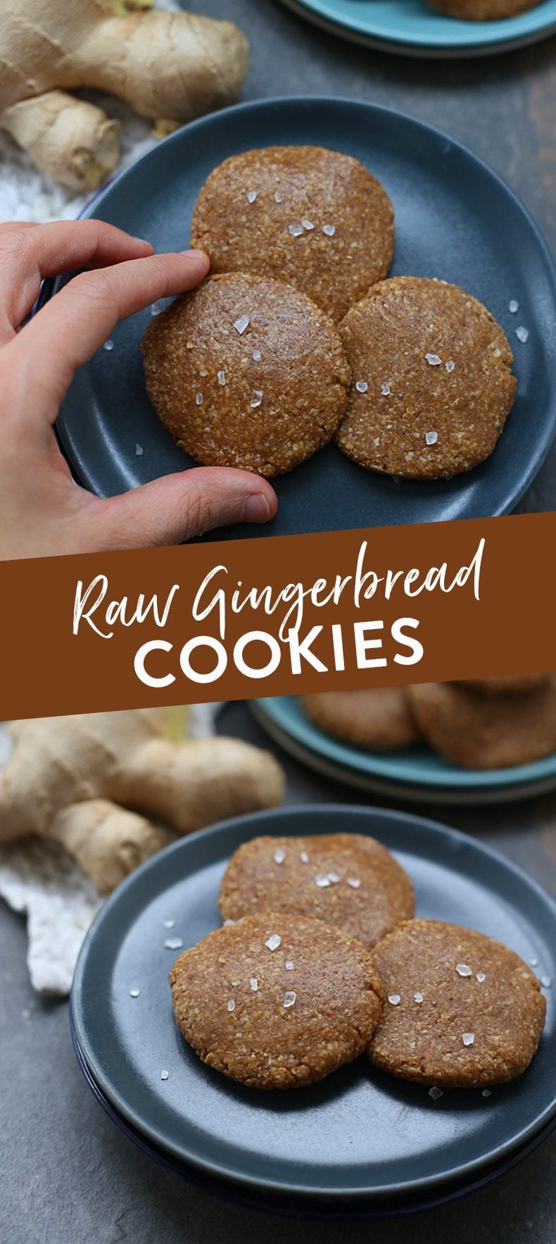 A simple and delicious recipe for Raw Gingerbread Cookies made with wholesome ingredients like dates and nuts. Better yet, there's no oven required! #raw #gingerbread #christmasrecipe