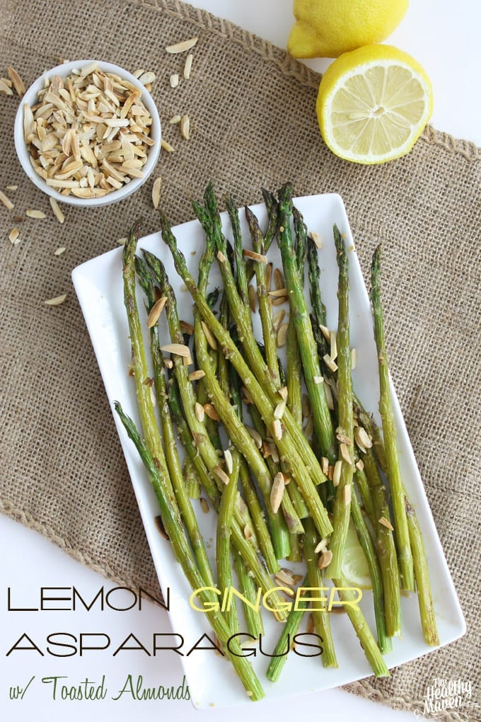 lemon ginger asparagus with toasted almonds