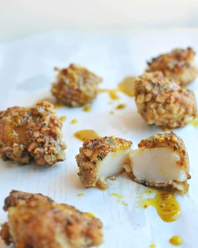 Walnut encrusted sea scallops
