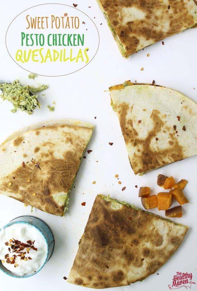 sweet potato pesto chicken quesadillas
