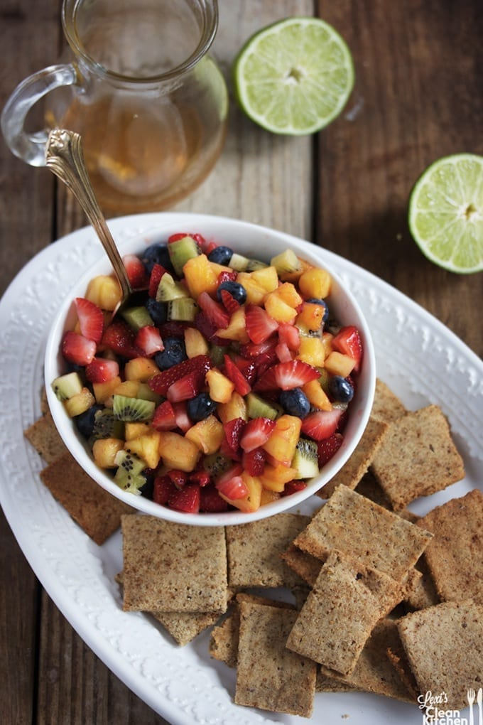 Honey Lime Fruit Salad with Homemade Cinnamon Sugar Chips