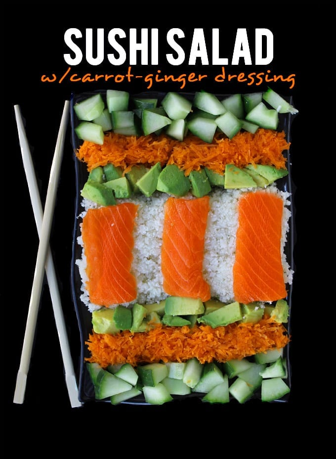 Sushi Salad with Carrot Ginger Dressing