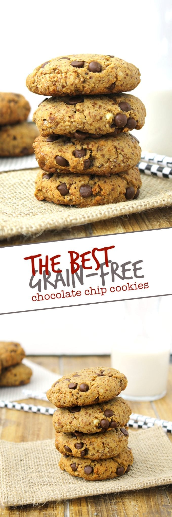The Best Ever Grain-Free Chocolate Chip Cookies made with almond meal and coconut flour. You won't miss the grains in this paleo and healthy dessert recipe.