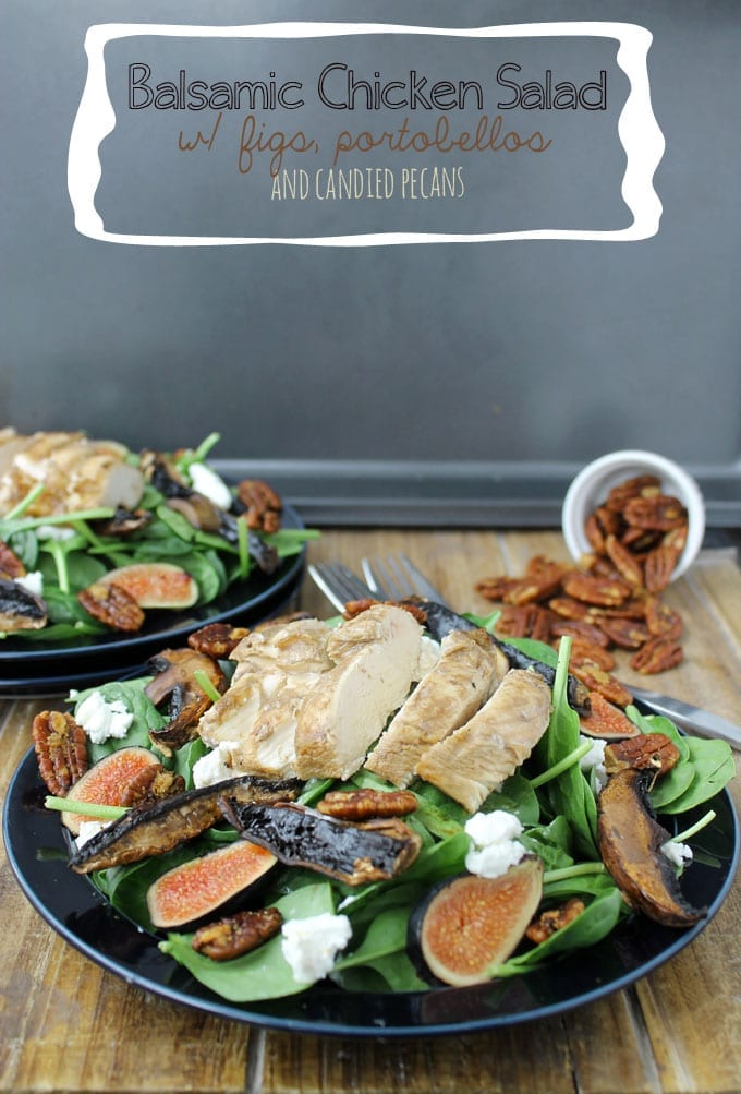 Balsamic Chicken Salad with Figs, Portobellos and Candied Pecans // thehealthymaven.com