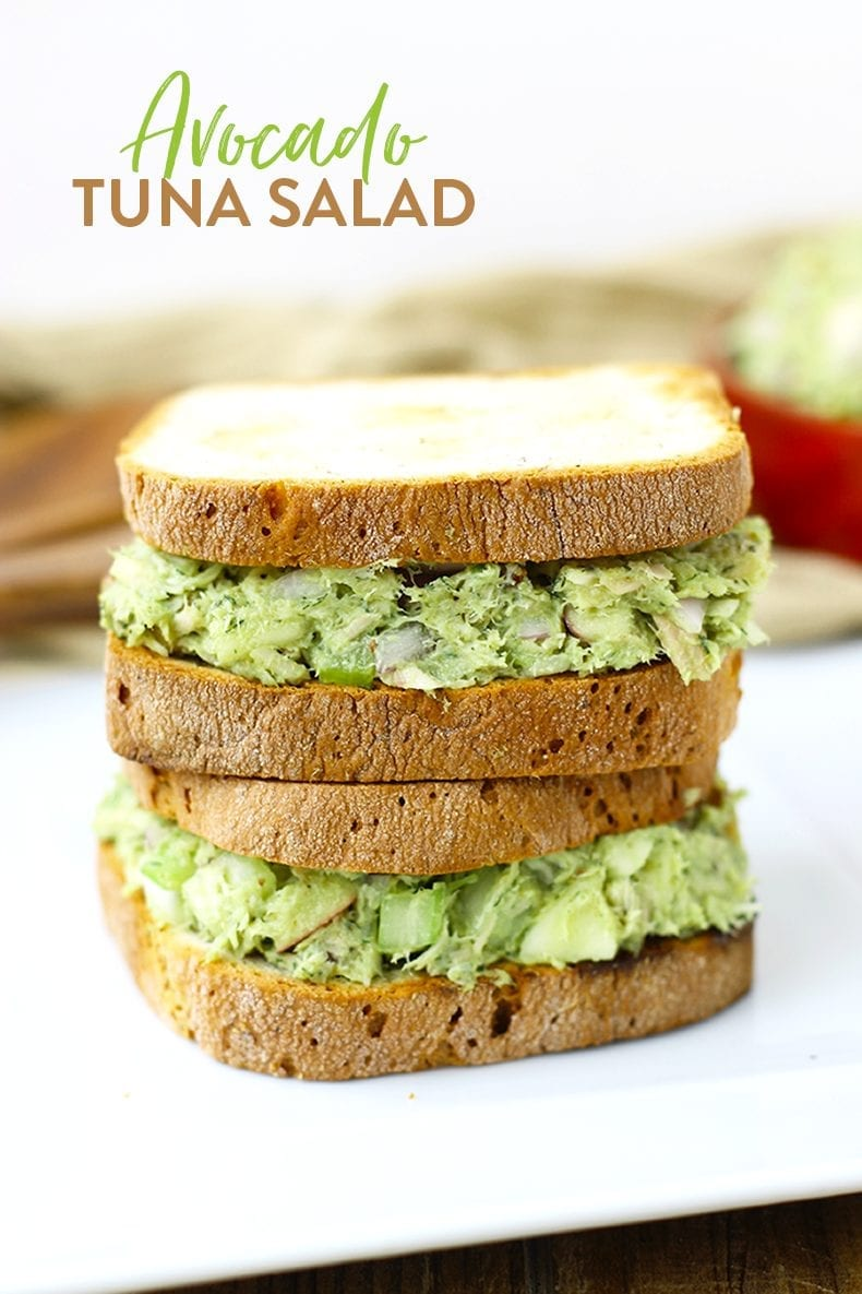 Avocado Tuna Salad Recipe - a healthy lunch recipe made with avocado in place of mayo.