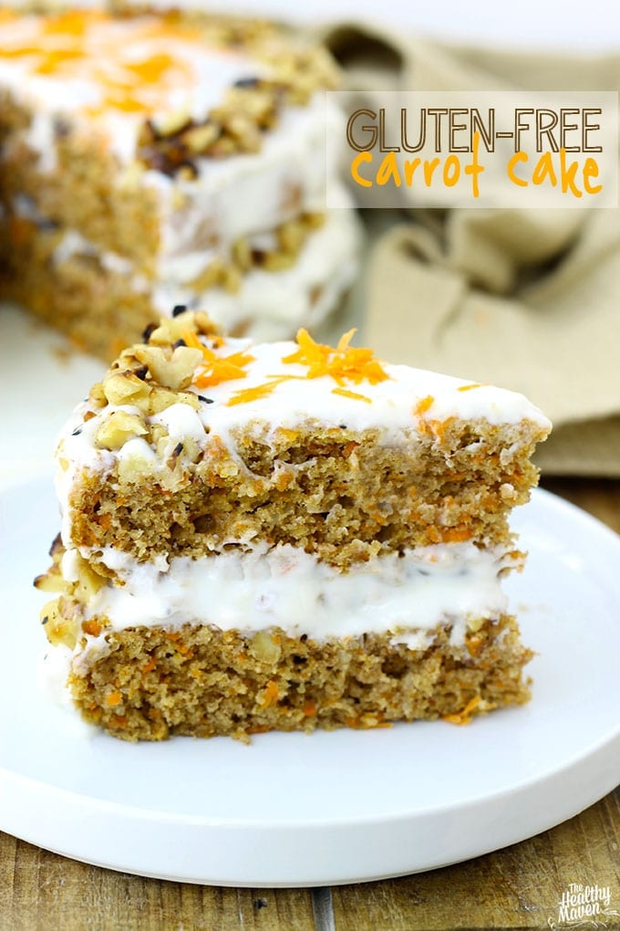 This Gluten-Free Carrot Cake with lightened-up cream cheese frosting ...