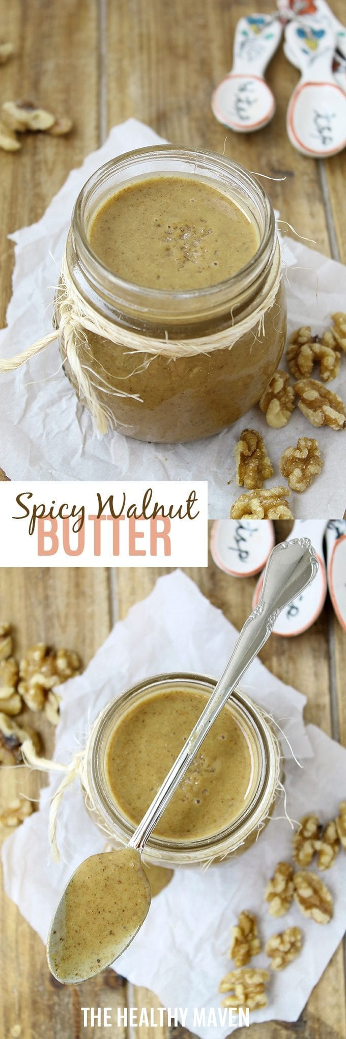 Spicy Walnut Butter - an easy DIY nut butter recipe made with toasted walnuts and spices you'll find in your cupboard.