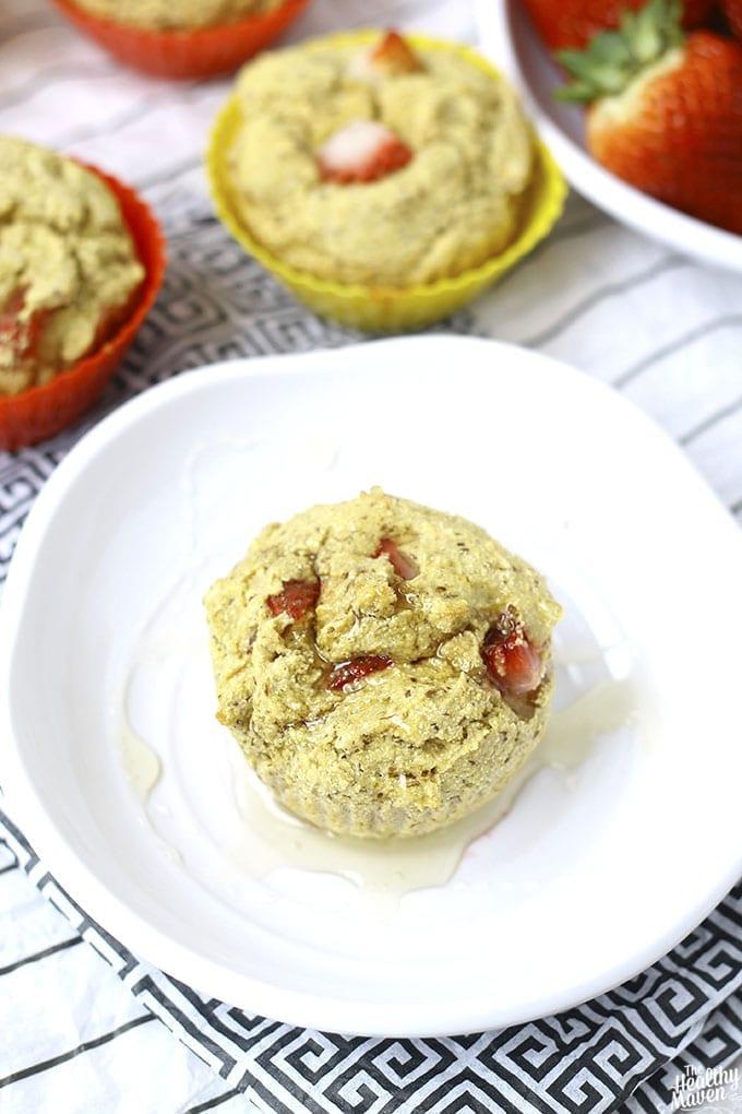 Strawberry Cornbread Muffins // thehealthymaven.com #glutenfree #vegan