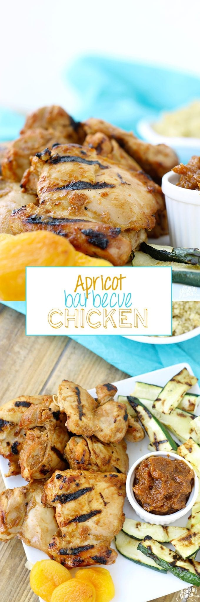 This Apricot Barbecue Chicken is a tangy and sweet chicken recipe for the grill that you'll find yourself eating all summer long. It's made from dried apricots rather than sugar-laden jam!