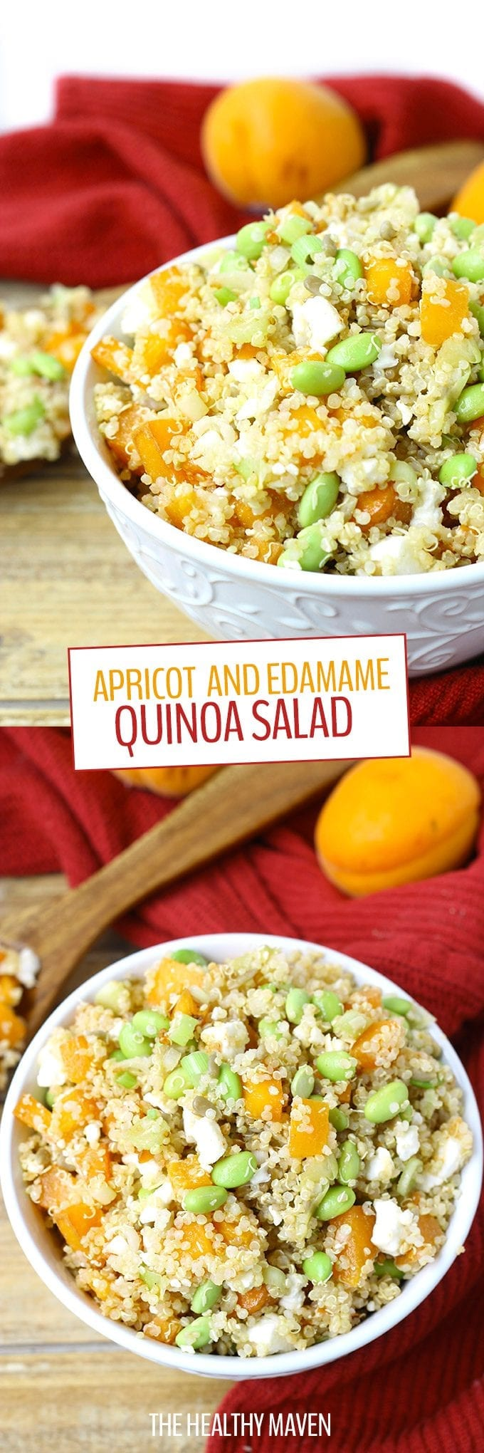 Apricot and Edamame Quinoa Salad - a healthy, delicious and nutritious vegetarian salad recipe perfect for lunch or dinner!
