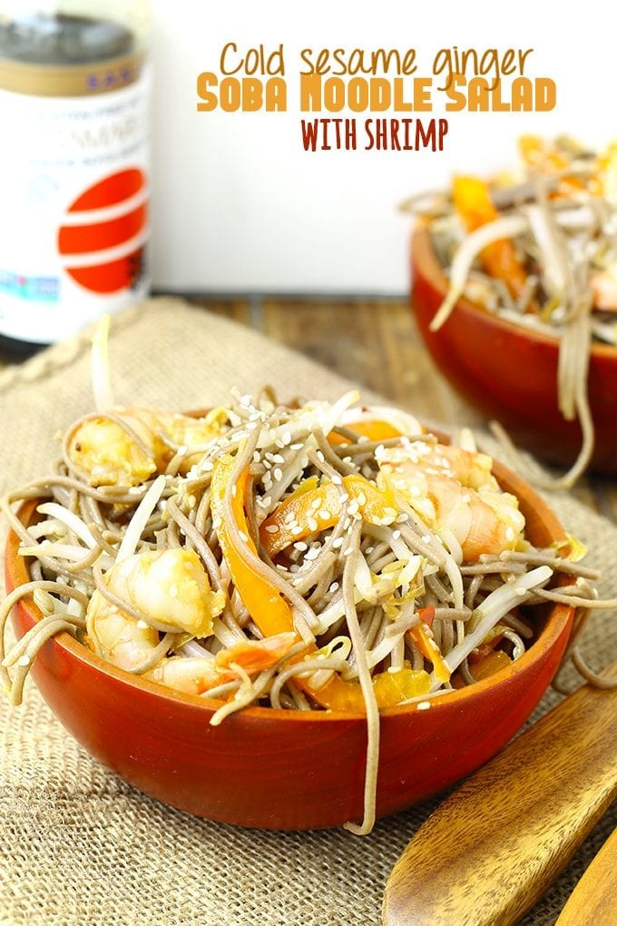 This Cold Sesame Ginger Soba Noodle Salad with Shrimp is packed-full of veggies and protein to make a delicious and satisfying meal. It's perfect for BBQs, picnics of even lunch on the run! It's also gluten-free!