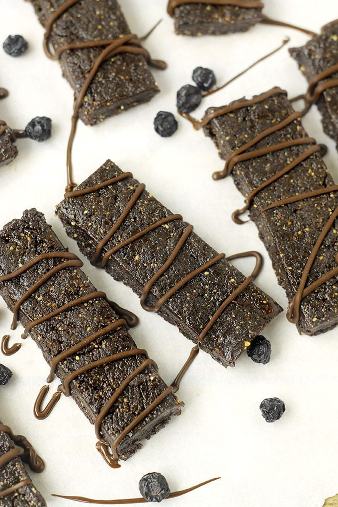 No-Bake Chocolate Blueberry Bars // thehealthymaven.com