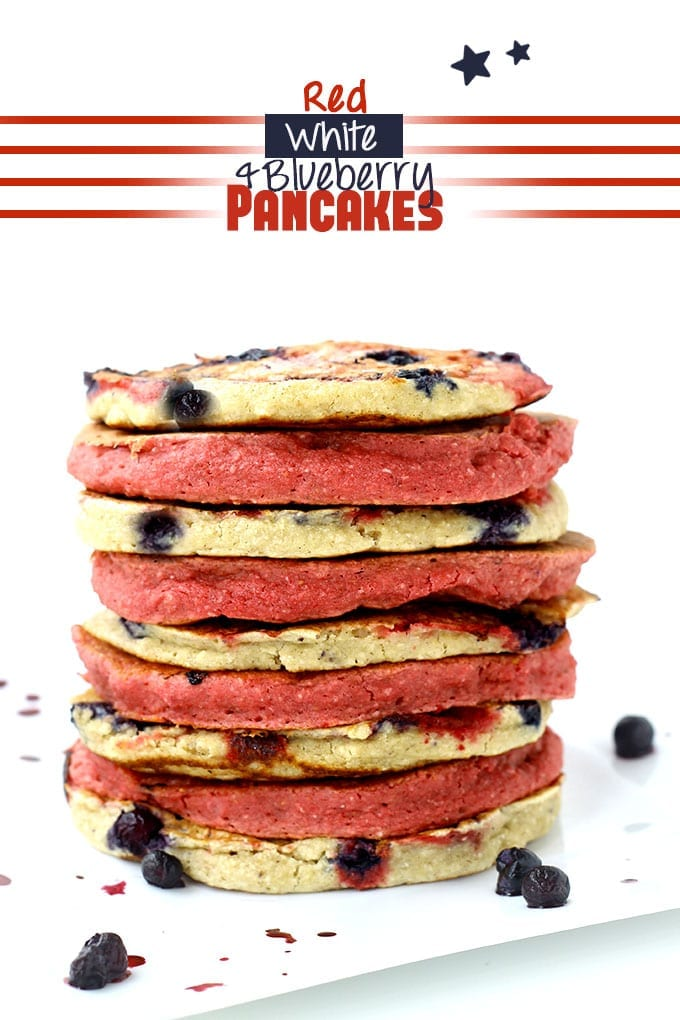 Red White and Blueberry Pancakes // thehealthymaven.com #4thofJuly