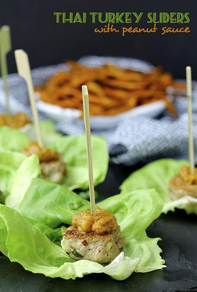 Thai Turkey Sliders with Peanut Sauce // thehealthymaven.com