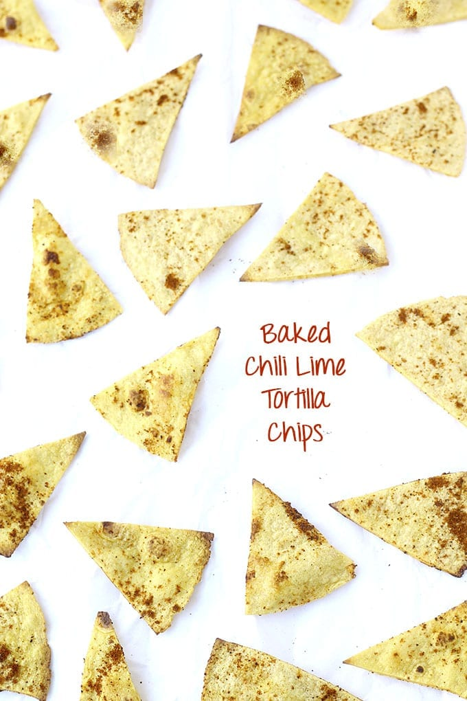 Baked Chili Lime Tortilla Chips // thehealthymaven.com