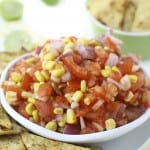 Fresh Corn Salsa With Baked Chili Lime Tortilla Chips