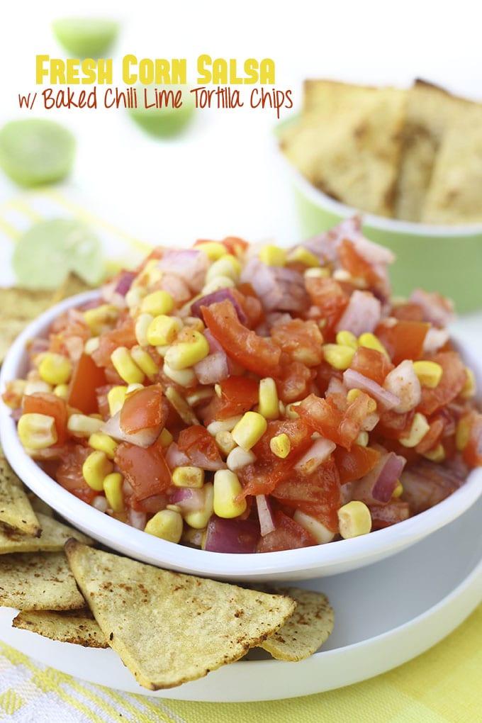 Fresh Corn Salsa With Baked Chili Lime Tortilla Chips // thehealthymaven.com
