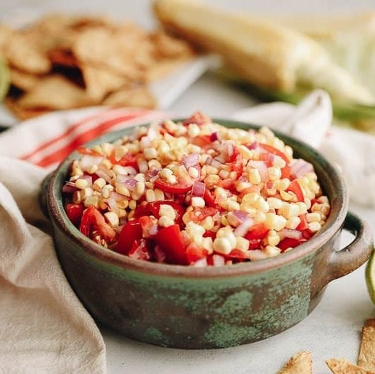 fresh corn salsa for a healthy snack or appetizer