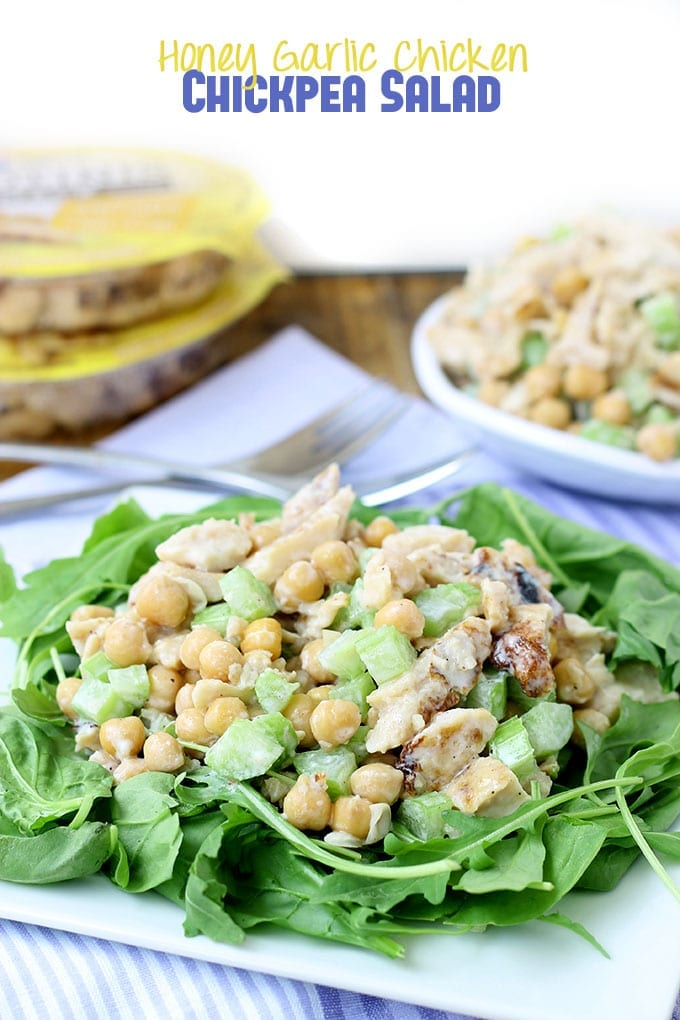 Honey Garlic Chicken Chickpea Salad // thehealthymaven.com #protinis