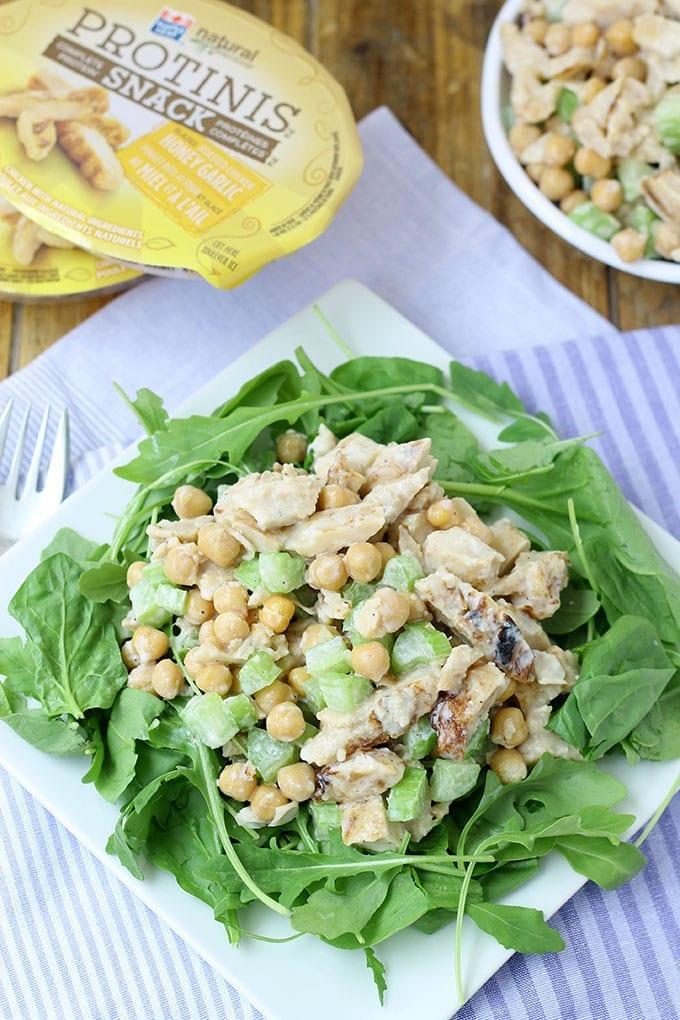 Honey Garlic Chicken and Chickpea Salad // thehealthymaven.com #protinis