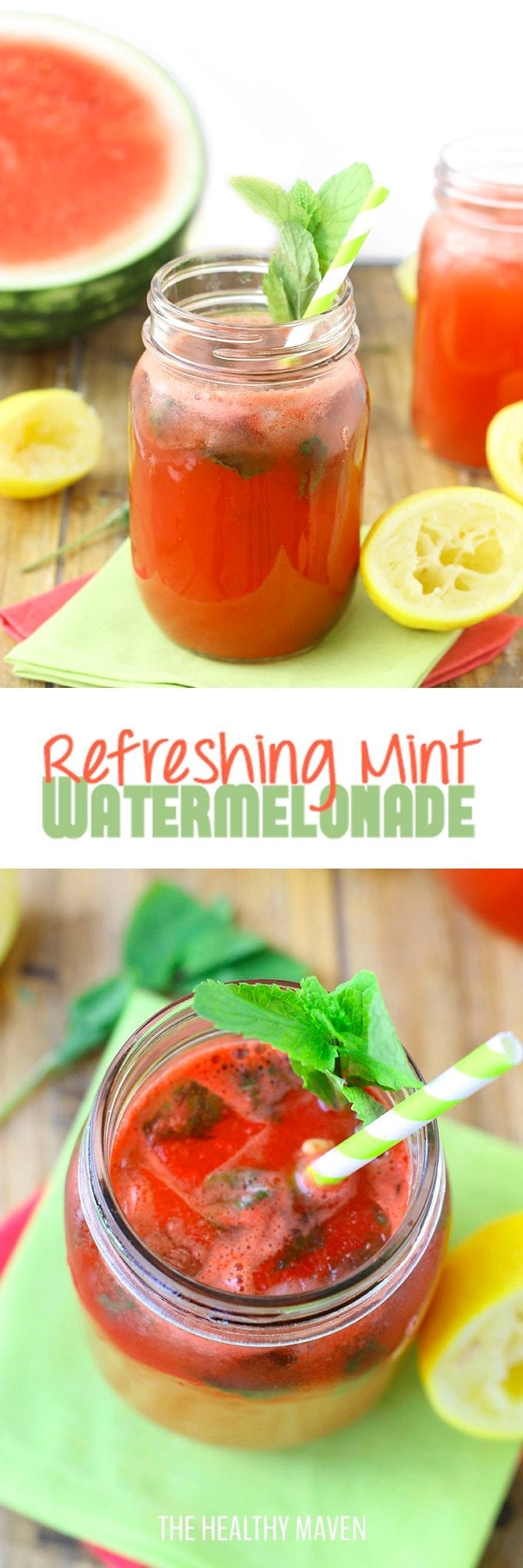 Watermelon meets lemonade in this Refreshing Mint Watermelonade. It's a healthy and delicious drink recipe on a hot summer day. Sweetened naturally with fruit and a touch of honey!
