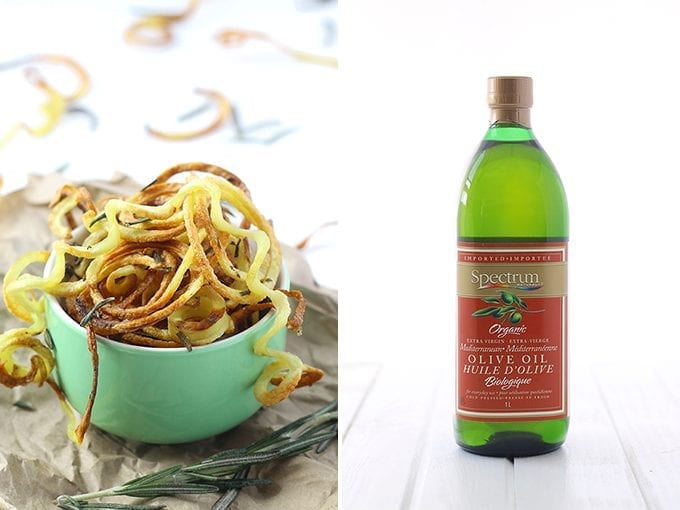 Crispy Baked Curly Fries - An easy two step process for the perfect crispy potatoes using Spectrum Naturals® Olive Oil #SpectrumSundays