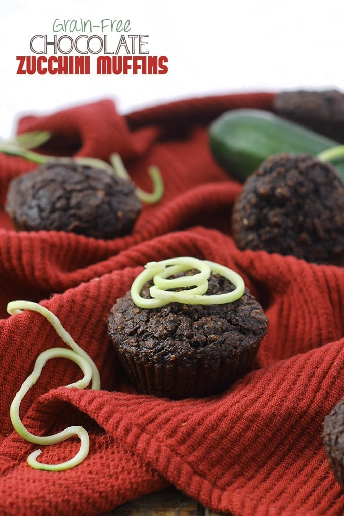 grain-free chocolate zucchini muffins- delicious #grainfree muffins made with almond meal and coconut flour and sweetened with honey! // thehealthymaven.com #paleo #glutenfree