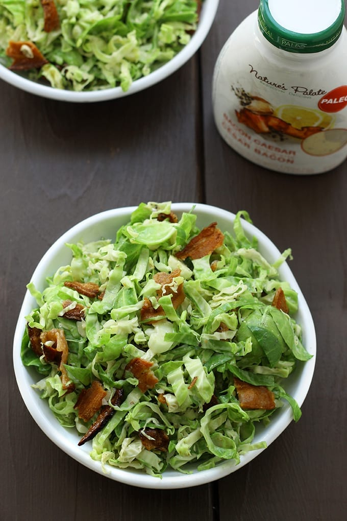 Bacon and Brussels Sprout Caesar Slaw - #lunch ready in 10 minutes! // thehealthymaven.com #recipe