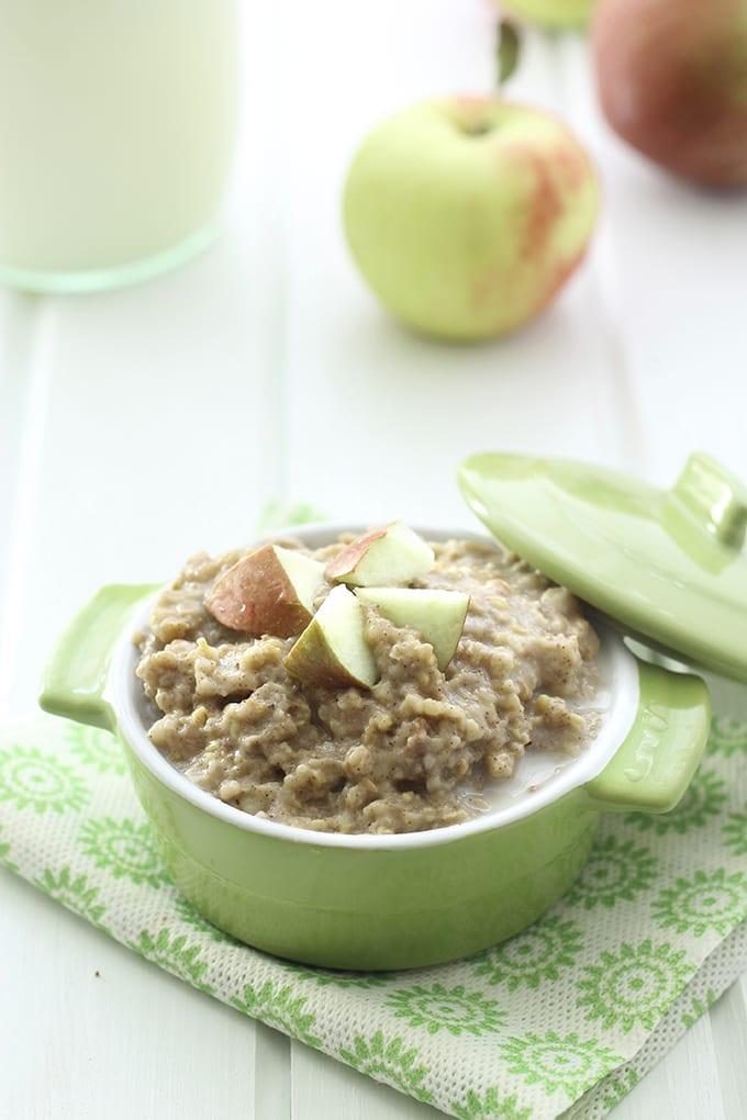 Slow Cooker Apple Pie Steel-Cut Oatmeal - The Healthy Maven