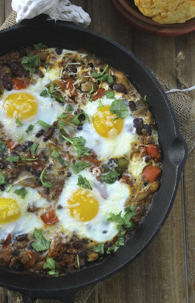 Baked chili Shakshuka- The perfect use for your leftover chili that makes a warm a hearty shakshuka.