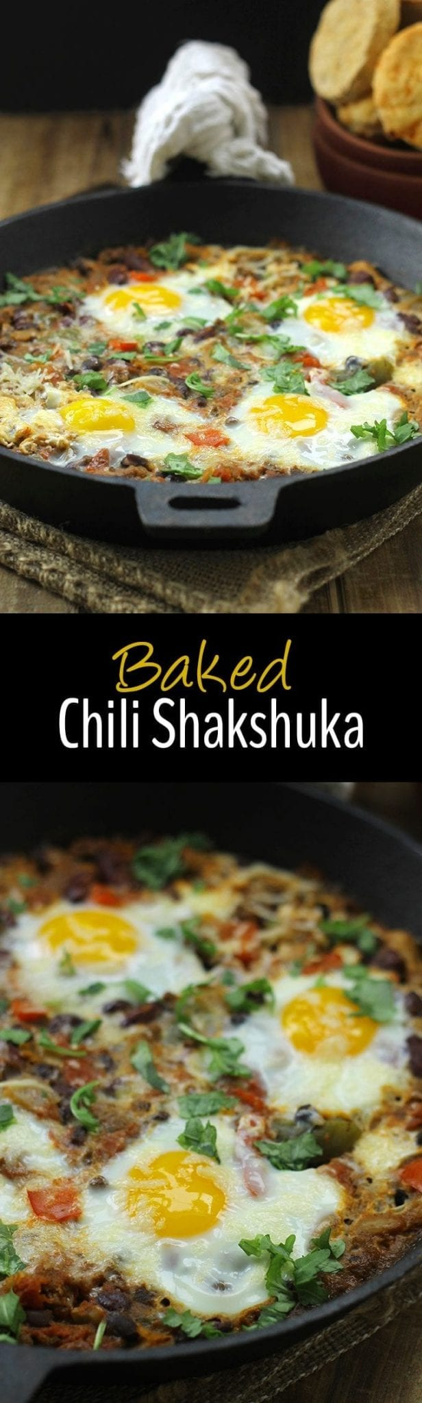 Ever wondered what to do with that leftover chili? This warm and hearty Baked Chili Shakshuka is the perfect use! Plus it makes a delicious breakfast!