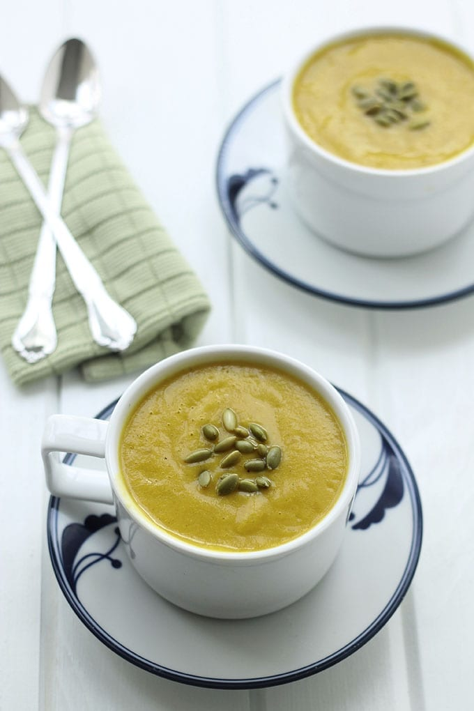 Butternut Squash Sweet Potato Soup - a sweet and zesty soup to keep you warm through the Fall and Winter months!