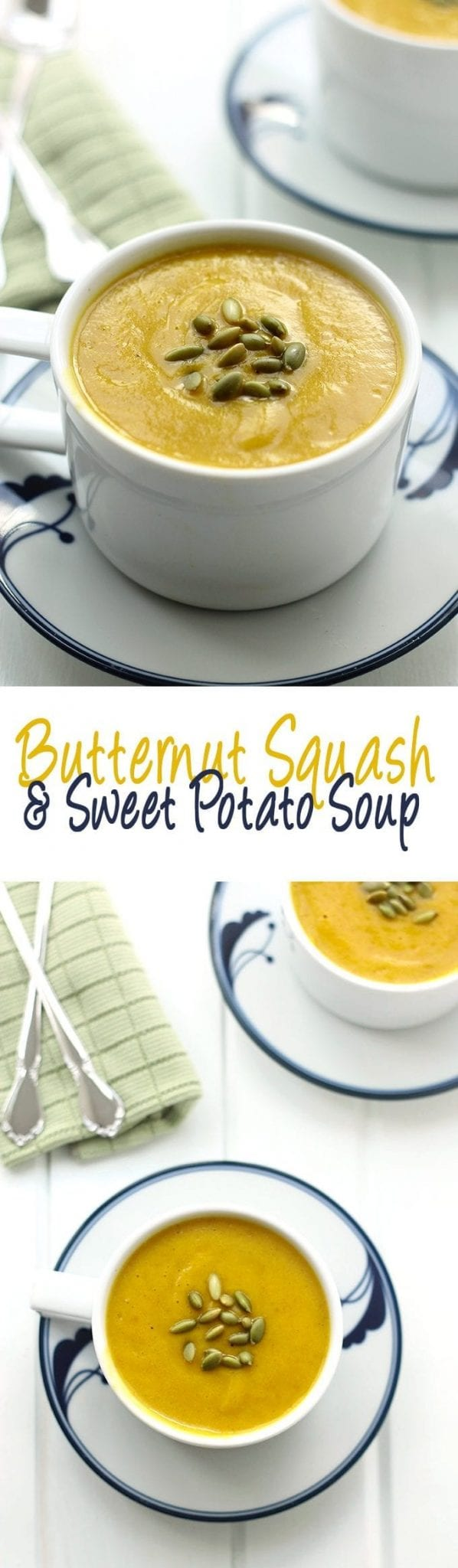 A sweet and zesty soup with the flavours of fall from butternut squash and sweet potato. This soup will keep you warm through the Fall and Winter months.