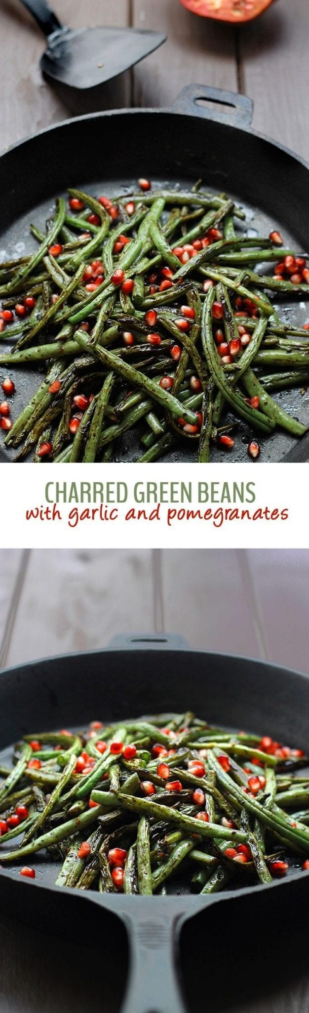 The roasted flavour of the green beans with the pop of sweetness from the pomegranates will make these charred green beans with garlic and pomegranate seeds your new favorite!