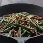 Charred Green Beans with Garlic and Pomegranate Seeds