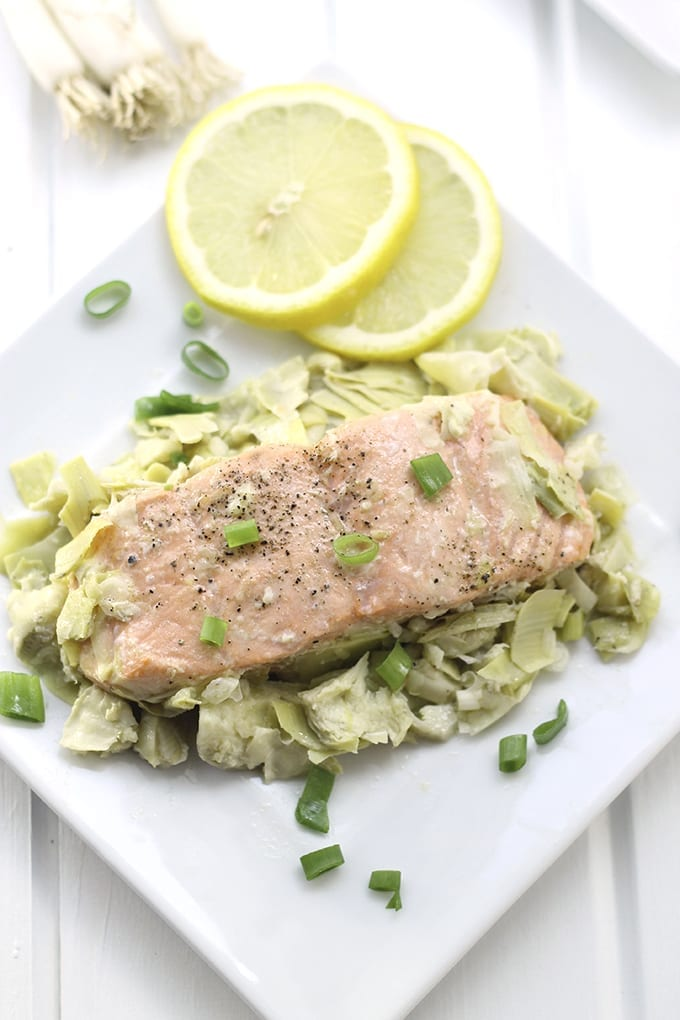 Lemon Artichoke Baked Salmon - a heart-healthy dinner packed full of flavour and nutrition with only two steps required, marinate and bake!