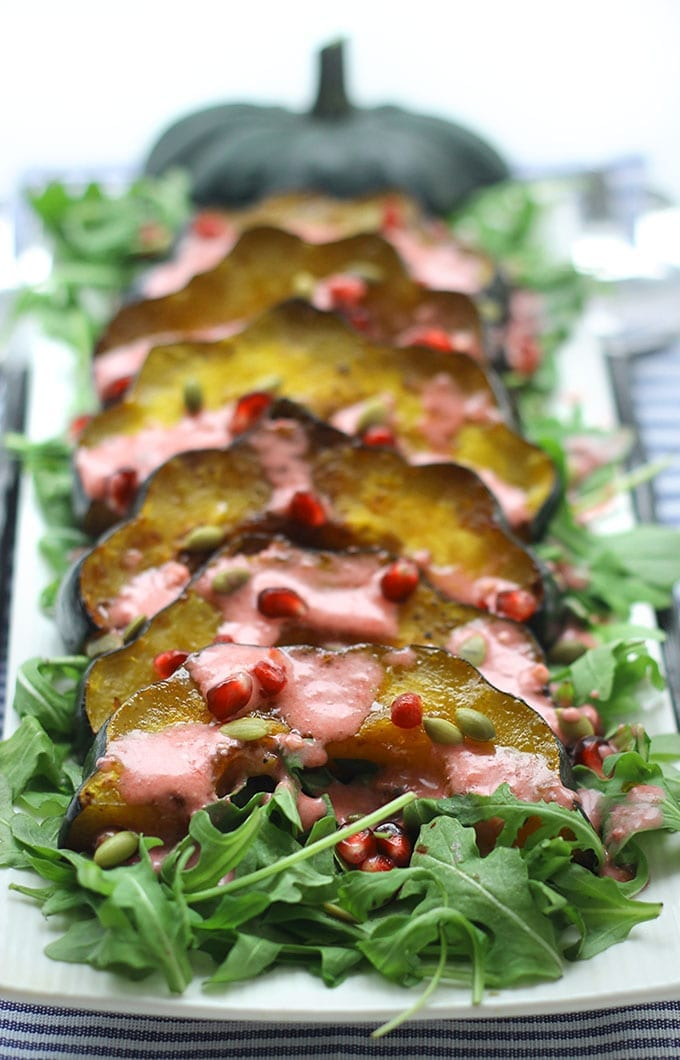 Maple Roasted Acorn Squash Salad with Pomegranate Vinaigrette