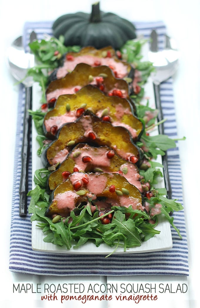 Maple Roasted Acorn Squash Salad with Pomegranate Dressing - for a hearty and filling Fall salad ready in 30 minutes.