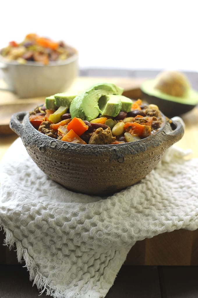 One-Pot Beef and Three Bean Chili - no need to dirty all of your dishes with this no-fuss chili recipes. Packed full of flavor and protein from the beef and beans!