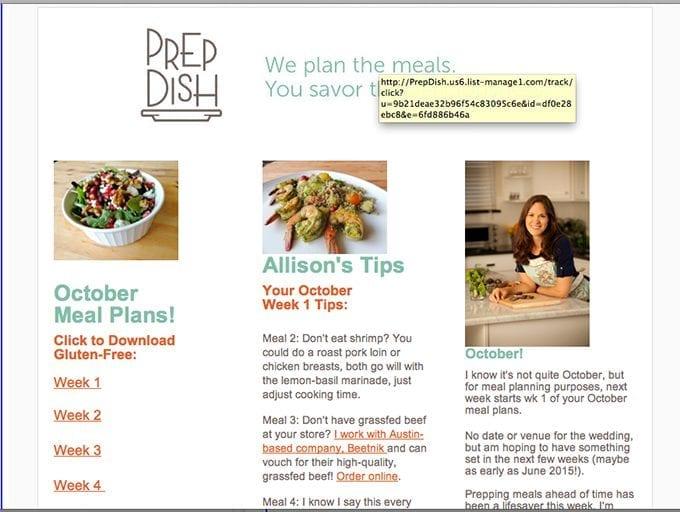 Prep Dish email