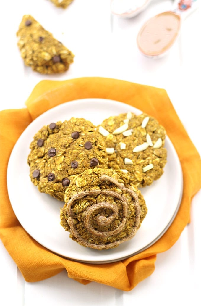 Get your seasonal pumpkin fix with the nuttiness of almond butter in these delicious, gluten-free and vegan pumpkin almond butter breakfast cookies!