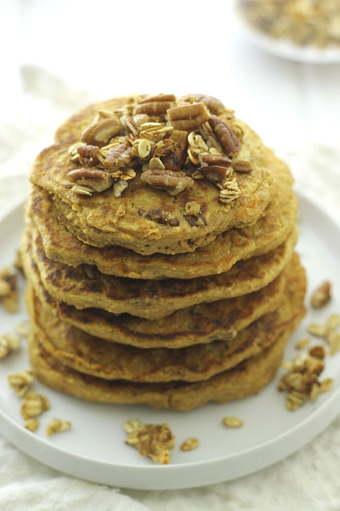 Sweet Potato Pecan Pancakes - A #healthy pancake #recipe for Fall! // thehealthymaven.com