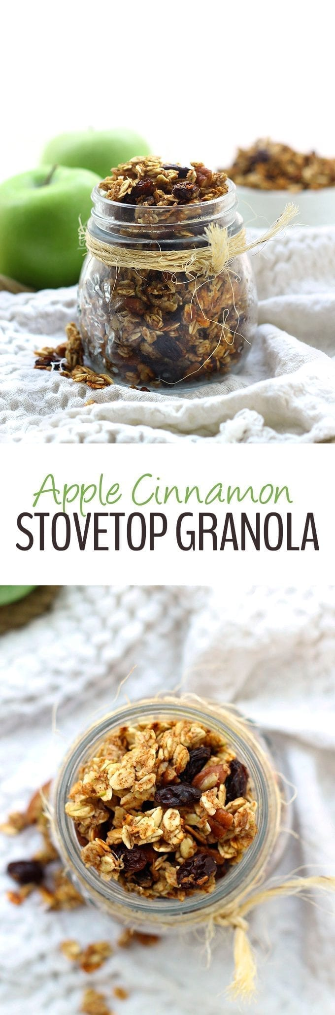 A hearty and healthy apple cinnamon stovetop granola recipe that's ready in 15 minutes or less! Perfect for an easy morning breakfast.